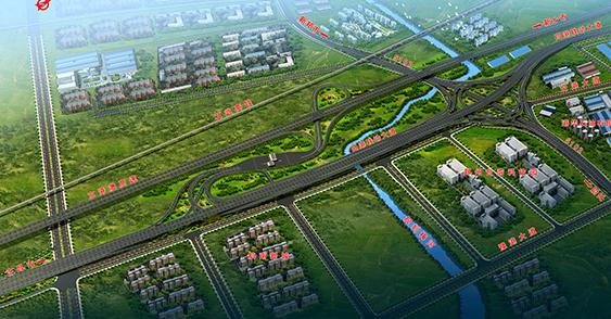 京港澳高速、省道102与四港联动大道组合式互通立交
